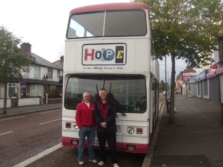 HOPE Bus with Richard Waller and Marcus Dixon, in Belfast - Photo: Clive Price