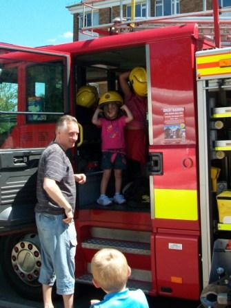 Kids experience the fire engine