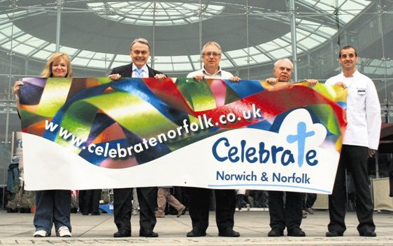 Celebrate Norwich and Norfolk banner and organising team